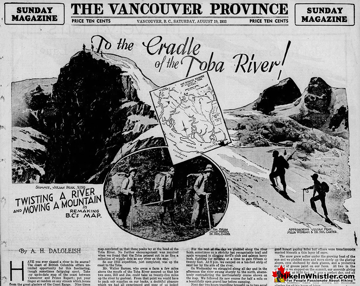 To the Cradle of Toba River 1933 Vancouver Province