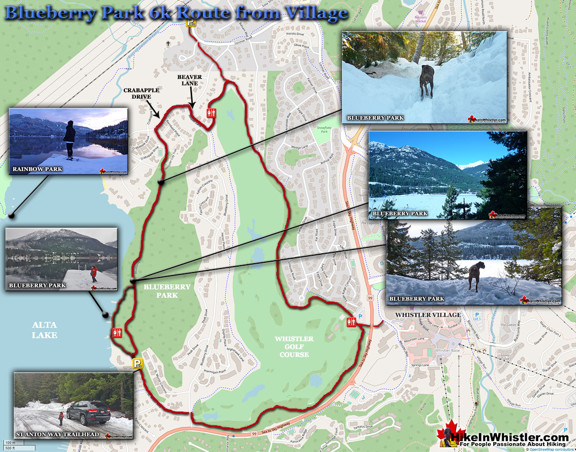 Blueberry Park Snowshoe Map