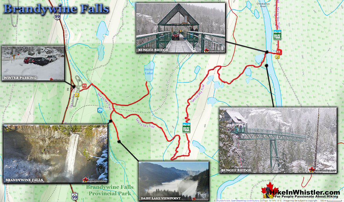Brandywine Falls Winter Snowshoe Map