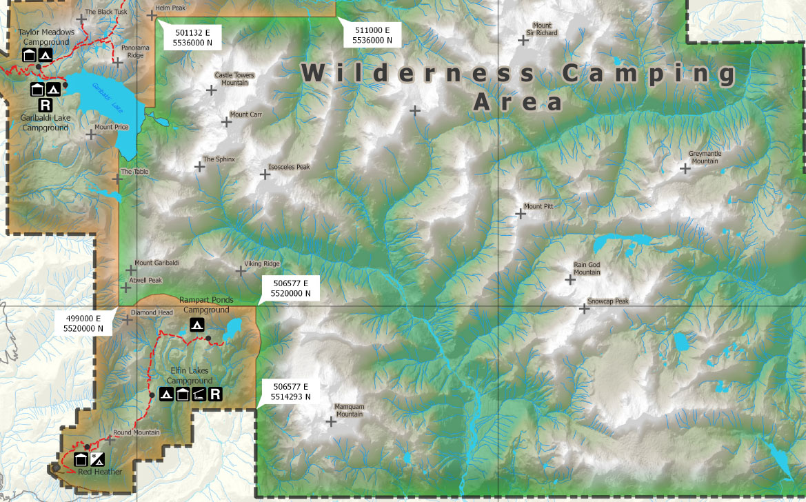 Garibaldi Park Wilderness Camping Map