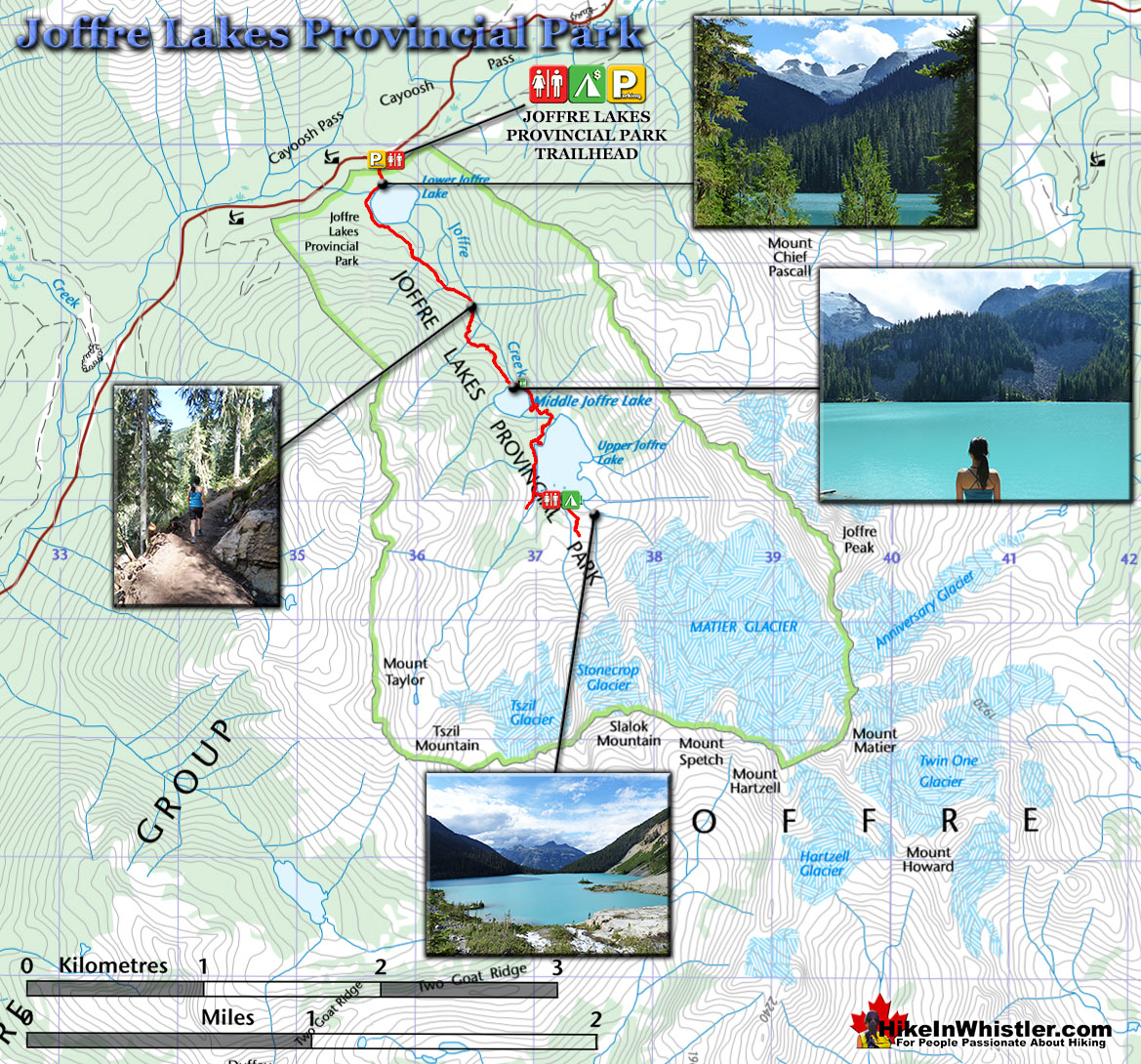 Joffre Lakes Provincial Park Hiking Trail Map