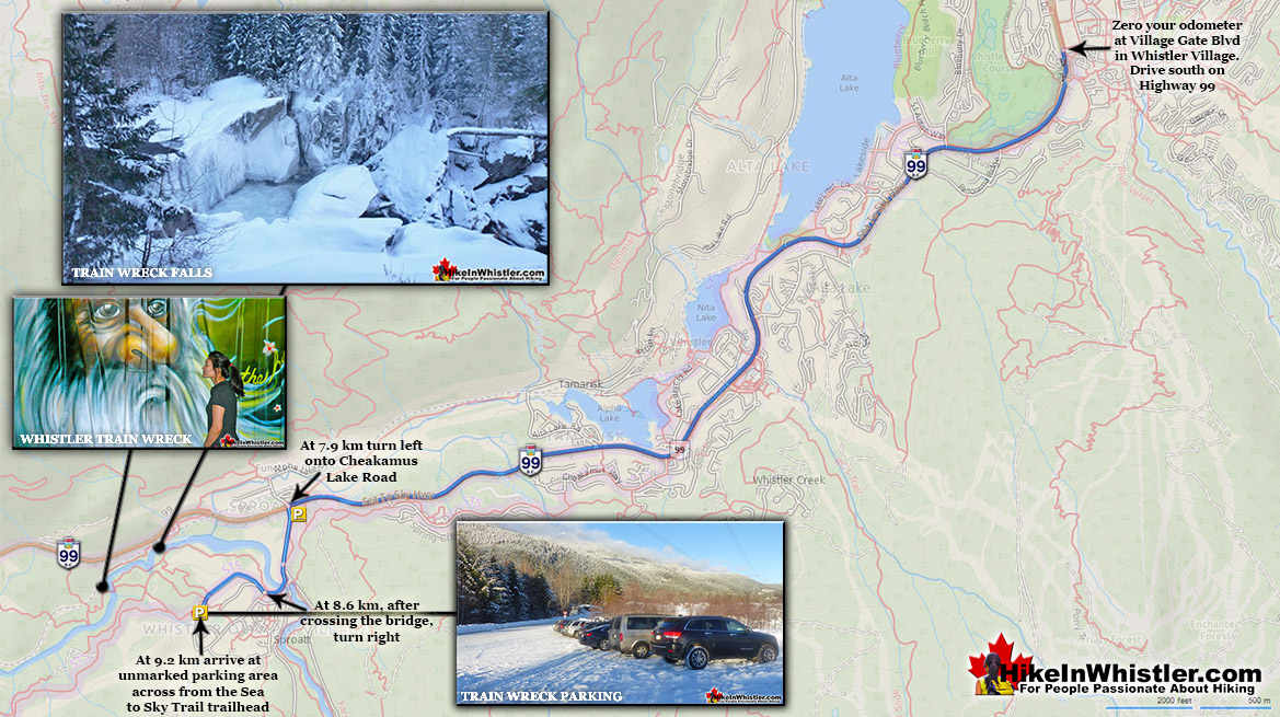 Whistler Train Wreck Directions Map Winter