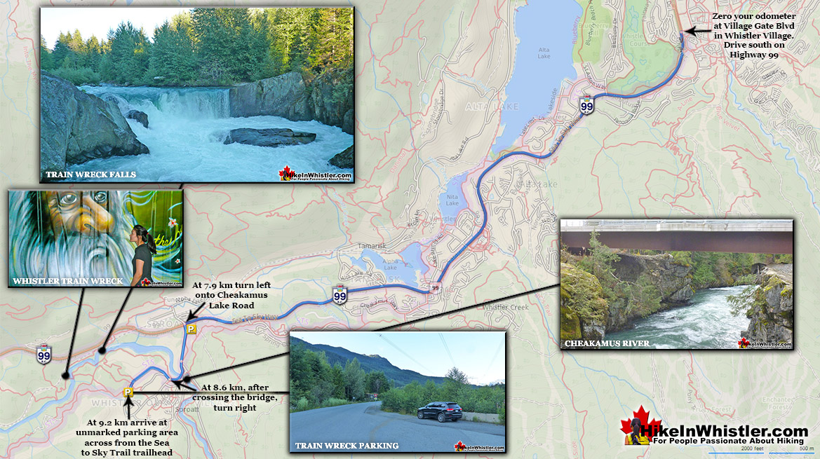 Whistler Train Wreck Driving Directions Map