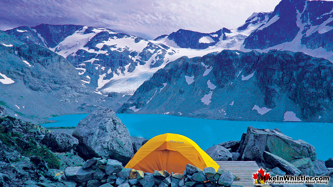 Tent View of Wedgemount Lake, Wedge Glacier and Wedge Mountain