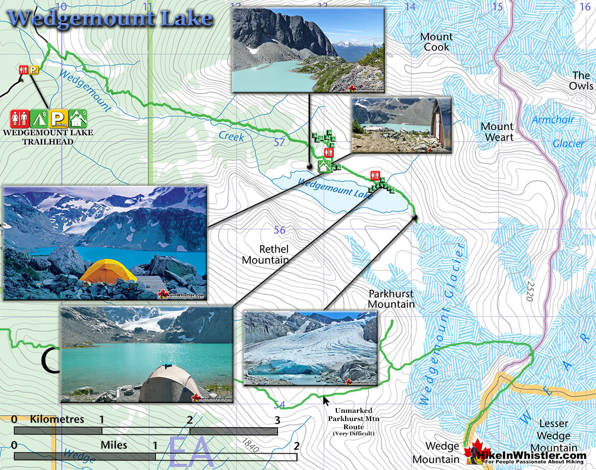 Wedgemount Lake Map - Hike in Whistler