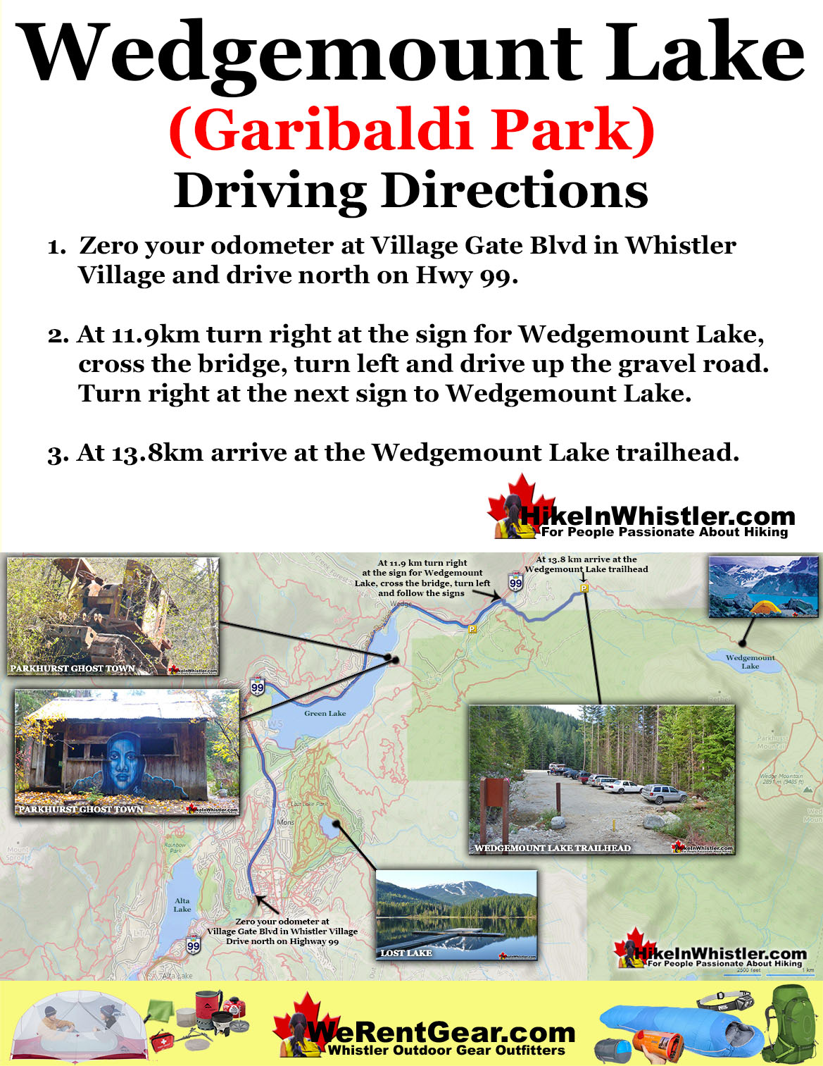 Wedgemount Lake Driving Directions Map
