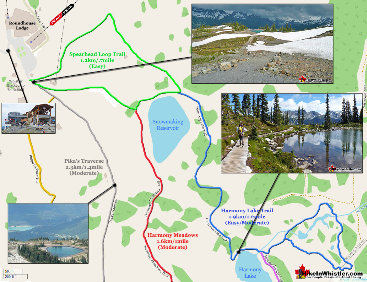 Whistler Hiking Map Short Trails